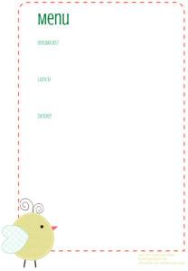 Menu Printable - Little Birdie