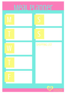 Modern Day Missus Printable Meal Planner - Mint