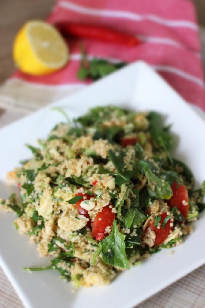 Fresh Quinoa Salad with a Tahini and Mustard Dressing