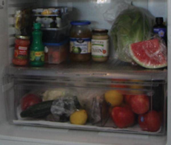The bottom of the fridge