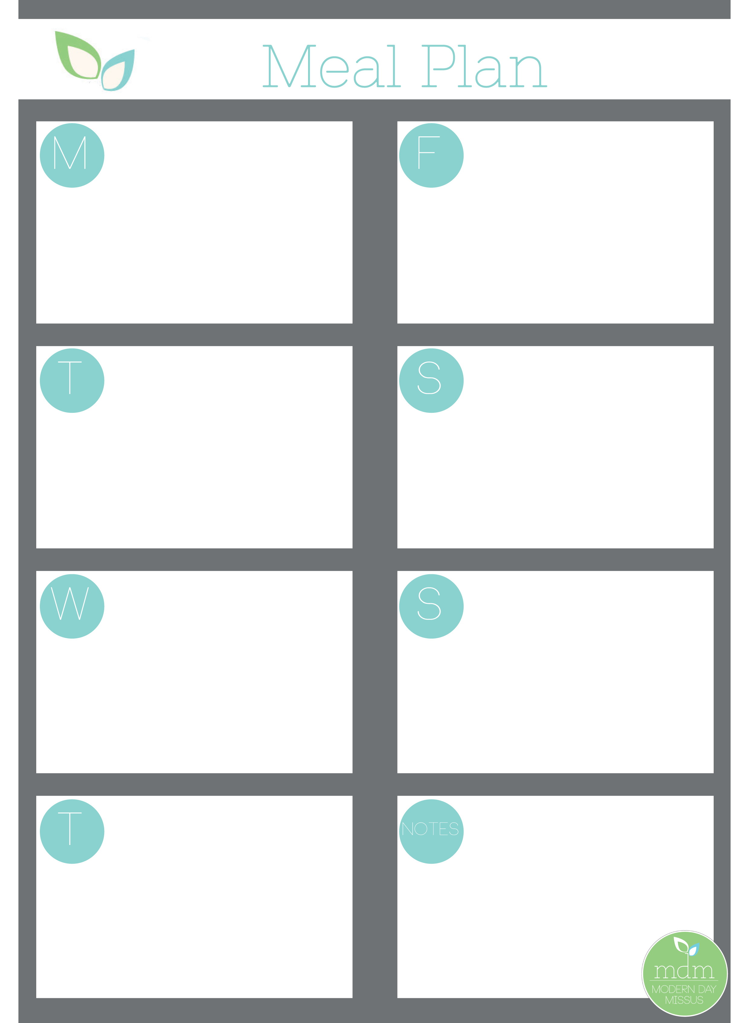Free Meal Planner Printable from www.moderndaymissus.com