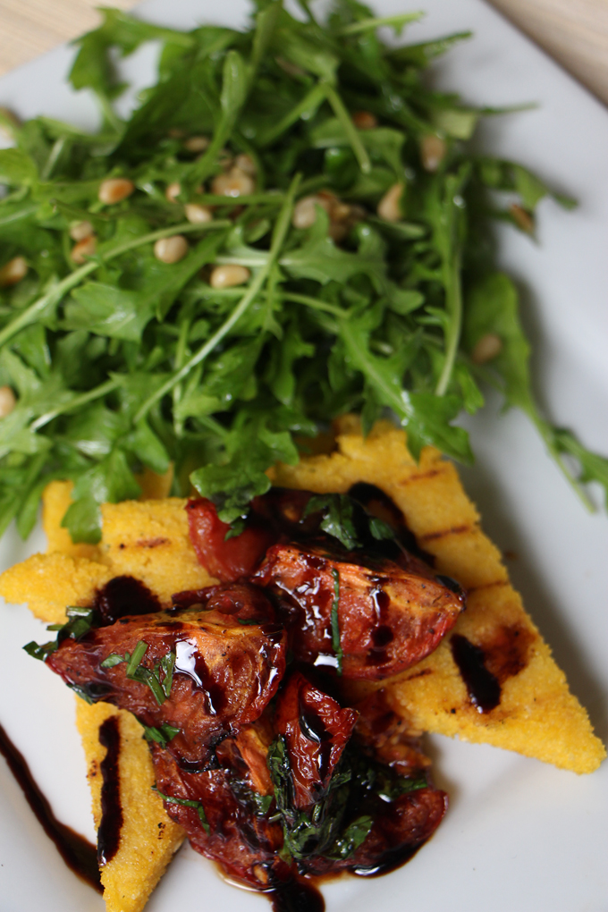 Grilled Polenta with tomato and rocket salad