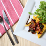 Grilled Polenta with Balsamic Roasted Tomatoes and Rocket Salad