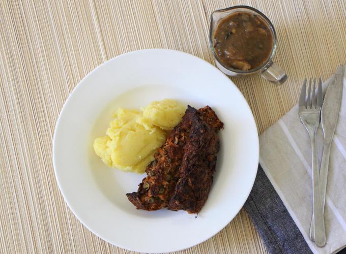 Vegan and gluten-free Lentil and walnut loaf