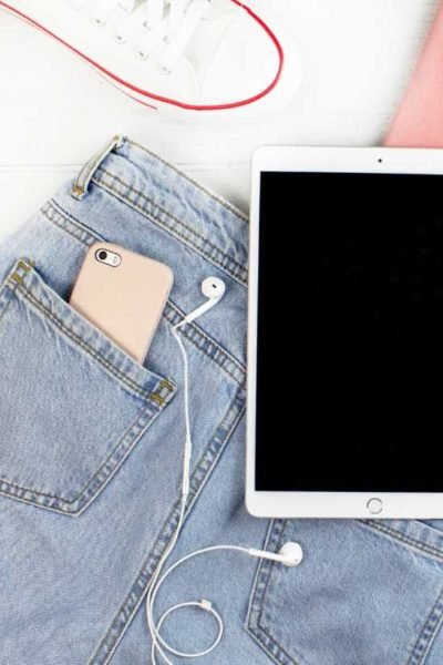 iPad with jeans and iPhone in pocket